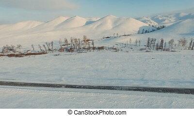 montagnes., vol, hiver, route, travers