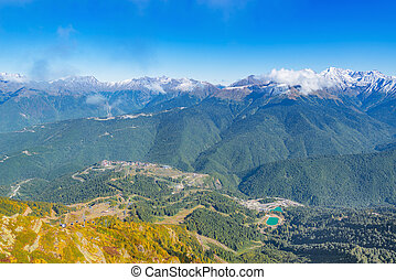 montagnes, vue, pic, roza, viewpoint.