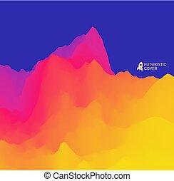 montagneux, illustration., terrain., résumé, arrière-plan.,...