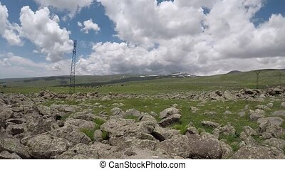 montagneux, nuages, sur, timelapse, terrain, vidéo, arménie, mouvement