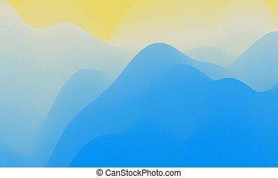 montagneux, vecteur, résumé, terrain., sun., montagnes,...