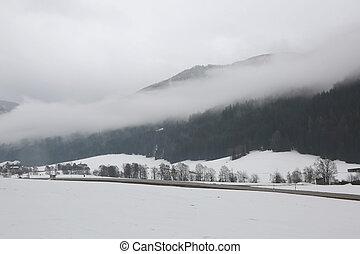 montains, névoa, vista