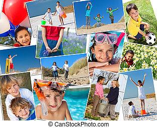 montaje, activo, feliz, niños jugar