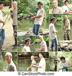 montaje, de, dos hombres, pesca