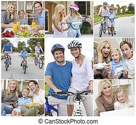 montaje, de, feliz, activo, familia , el comer sano