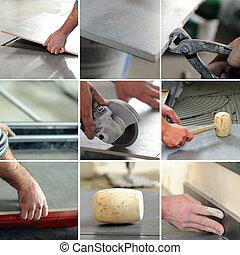 montaje, de, tiler, en el trabajo