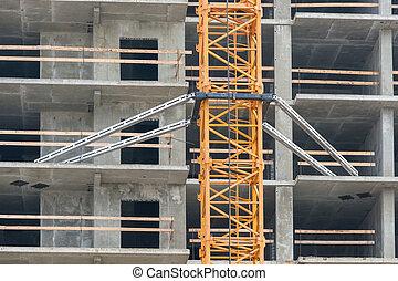 montaje, grúa construcción, elevación, a, overlaps, en, el, construcción, de, el, casa