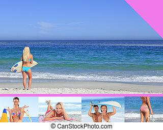 montaje, mujer, playa, atractivo