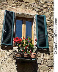 Montalcino - stone architecture and flowers