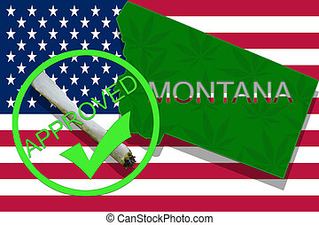montana, auf, cannabis, hintergrund., droge, policy., legalization, von, marihuana, auf, usa markierung