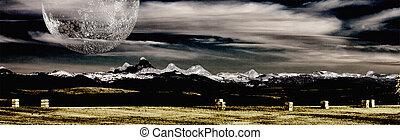 montana, berge, und, bauernhof