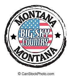 montana, cielo grande, país, estampilla