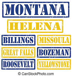 Set of Montana cities stamps on white background, vector illustration