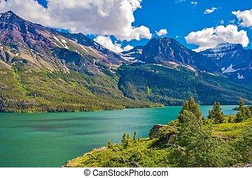 montana, glaciar, montañas