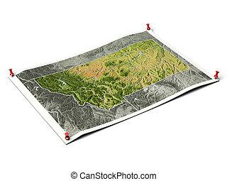 montana, ligado, desdobrado, mapa, sheet.