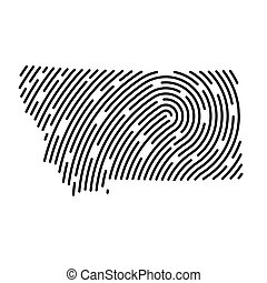 Montana map filled with fingerprint pattern- vector illustration