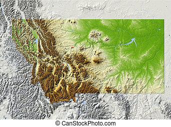 montana, mapa, protegidode la luz, alivio