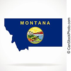 montana mt map with state flag vector