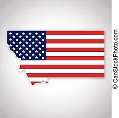 montana mt state map simplified with usa flag vector