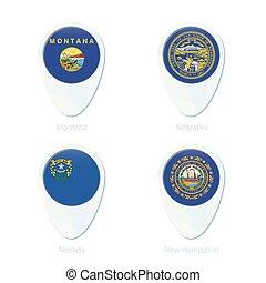 Montana, Nebraska, Nevada, New Hampshire flag location map pin icon.