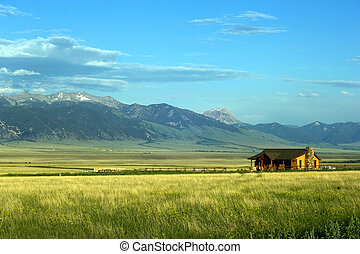 Sunny ranch in the mountains of Montana state