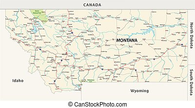 montana road vector map