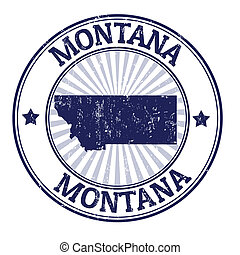 Grunge rubber stamp with the name and map of Montana, vector illustration