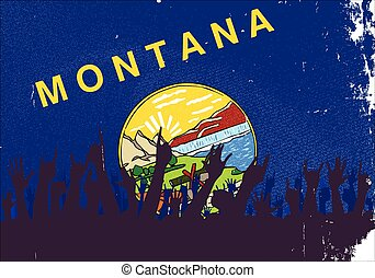 Montana State Flag with Audience