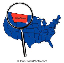 Montana state outline set into a map of The United States of America below a magnifying glass