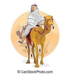 montando, árabe, beduíno, camelo