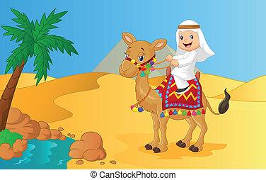montando, árabe, camelo, menino, caricatura