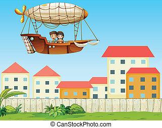 montando, acima, aeronave, dois, crianças, vila