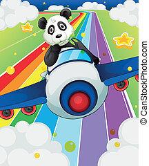 montando, avião, panda