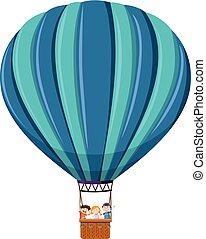 montando, balão ar quente, crianças
