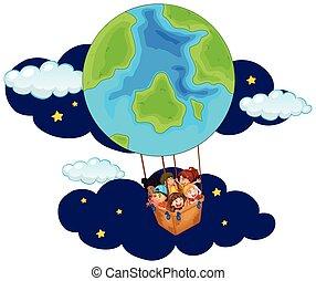 montando, balloon, crianças, noturna