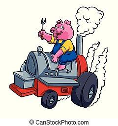 montando, barril, cozinheiro, bbq, porca