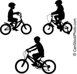 montando, bicycles, crianças, silhuetas
