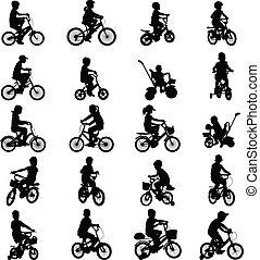 montando, bicycles, crianças