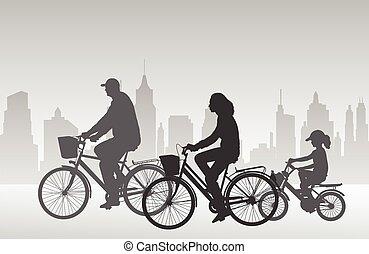 montando, bicycles, silhuetas, família