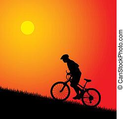 montando, biker, colina, cima