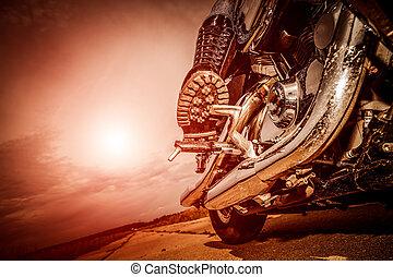 montando, biker, motocicleta, menina