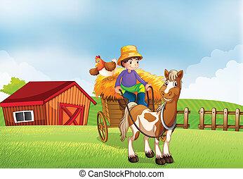 montando, carruagem, agricultor