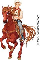 montando, cavalo, boiadeiro