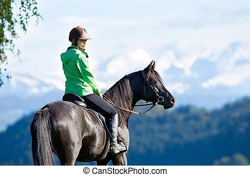 montando, cavalo, mulher