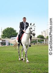 montando, cavalo, noivo, jovem, branca