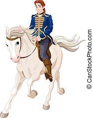 montando, cavalo, príncipe encanta