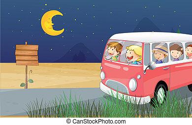 montando, crianças, autocarro