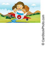 montando, crianças, avião