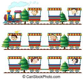 montando, crianças, trens