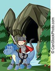 montando, dragão, príncipe, natureza